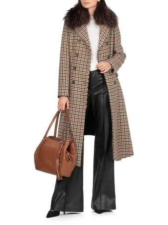 Bazar Deluxe Wool Blend Coat With Fur