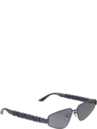 Balenciaga Blue Typo Rectangle Sunglasses For Women