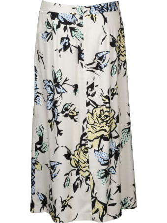 RED Valentino Graphic Roses Viscose Crepe Skirt