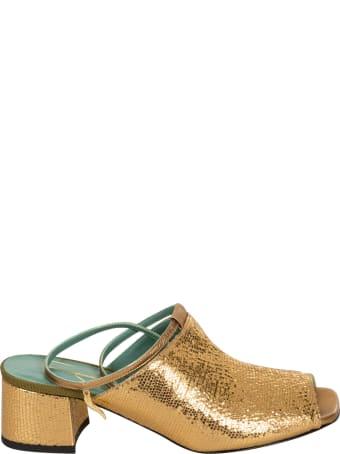 Paola D'Arcano Metallic Backstrap Sandals