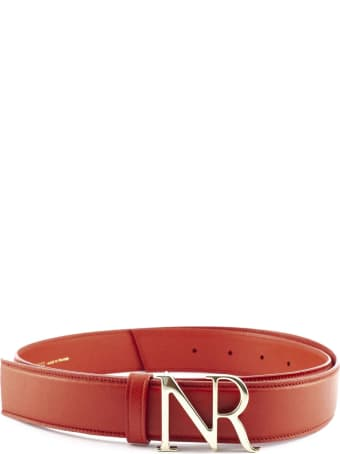 Nina Ricci Red Goat Skin Monogram Buckle Belt.