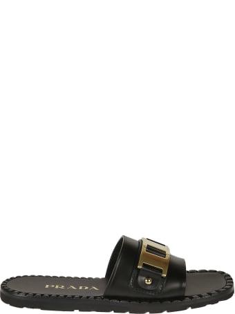 Prada Gold Metallic Detail Sliders