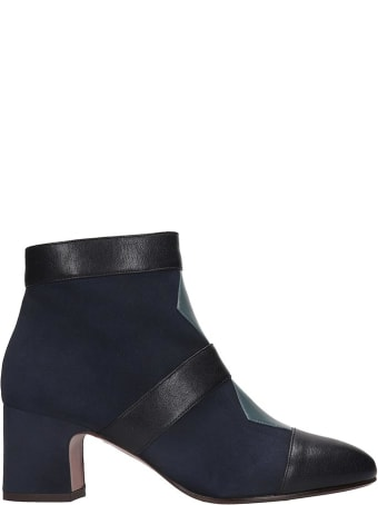 Chie Mihara Nicola  High Heels Ankle Boots In Blue Suede And Leather