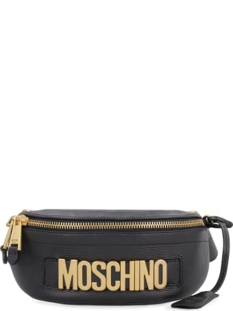 Moschino Logoed Leather Belt Bag