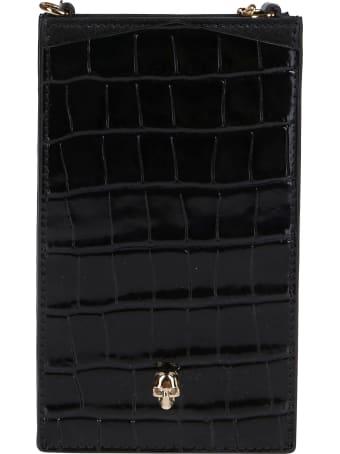 Alexander McQueen Black Leather Phone Case