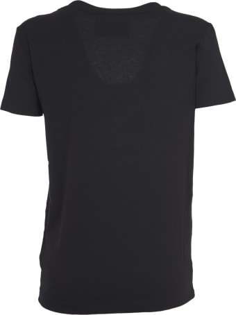 John Richmond Black T-shirt With Snake Embroidery