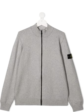 Stone Island Junior Grey Jersey Sweatshirt With Logo Patch