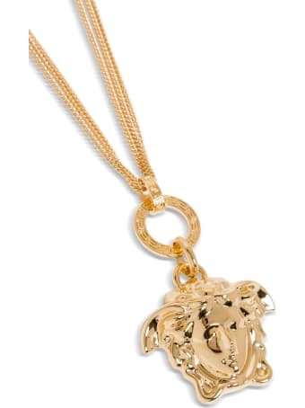 Versace Gold Metal Necklace With Medusa Pendant
