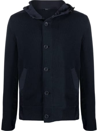 Herno Blue Cotton Blend Knitted Jacket