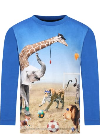 Molo Blue ''reif'' T-shirt Fro Boy With Animals
