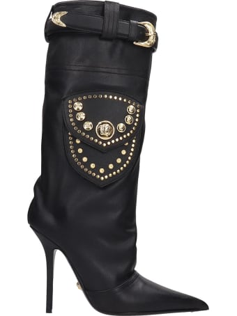 Versace High Heels Boots In Black Leather