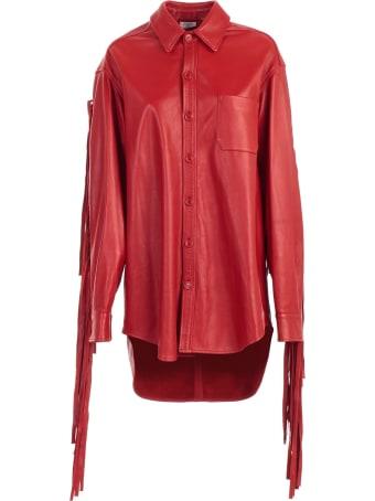 VETEMENTS Leather Shirt W/fringes