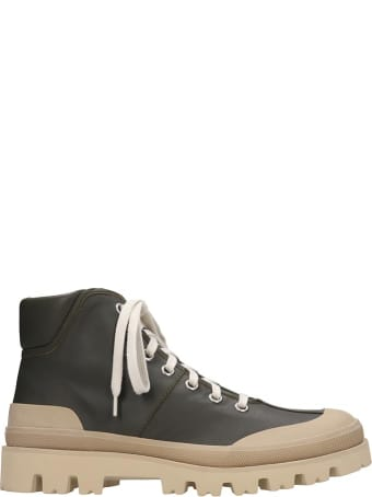 Marni Combat Boots In Green Leather