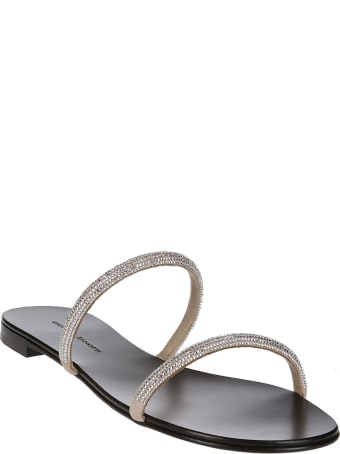 Giuseppe Zanotti Black Leather Croisette Crystal Sandals