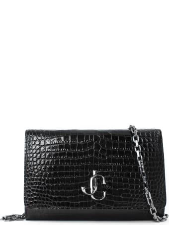 Jimmy Choo Black Shiny Croc-embossed Leather Clutch Bag