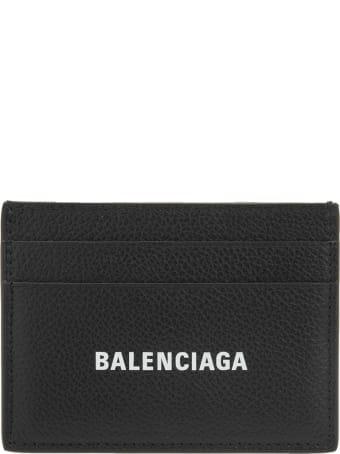 Balenciaga Black Man Card Holder With White Logo