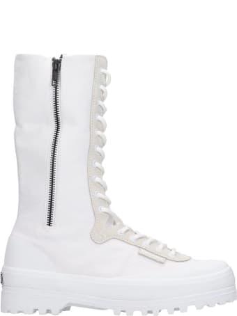 Superga Alpina High Sneakers In White Canvas