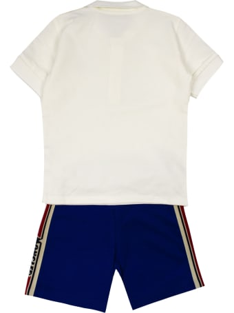 Moncler White And Blue Cotton Suit
