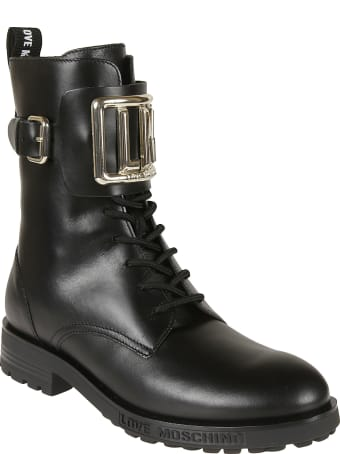Love Moschino Side Zip Logo Plaque Boots