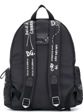 Dolce & Gabbana Black Backpack With White Print Dolce&gabbana Kids
