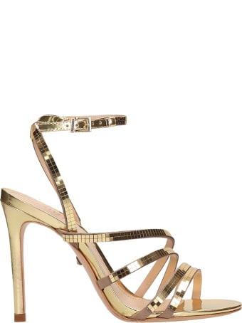 Schutz Disco Mirror Gold Leather Sandals