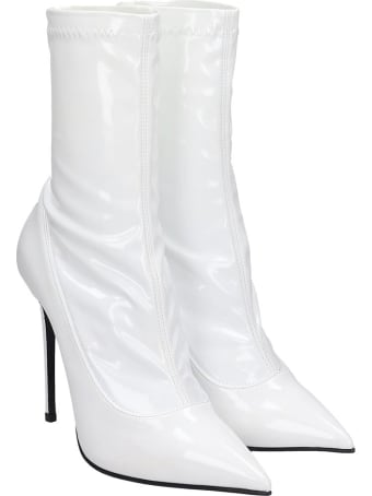 Le Silla High Heels Ankle Boots In White Patent Leather