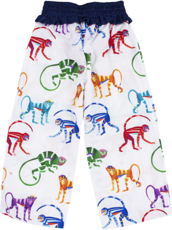 Stella Jean Girl's Pants In Cotton Printed With Monkeys
