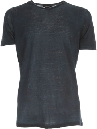 Avant Toi Round Neck Linen T-shirt With Shadows
