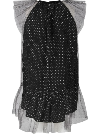 Oscar de la Renta Black Dress For Girl With Silver Polka-dots