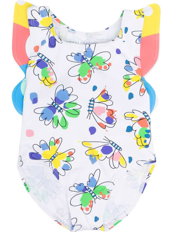 Stella McCartney Kids White Swimsuit With Multicolor Print