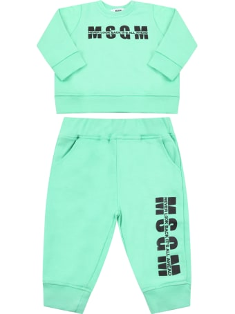 MSGM Mint Green Tracksuit For Babykids With Logo
