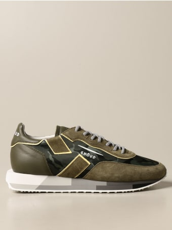 GHOUD Shoes Rush-m Ghoud Sneakers In Camouflage Suede And Nylon