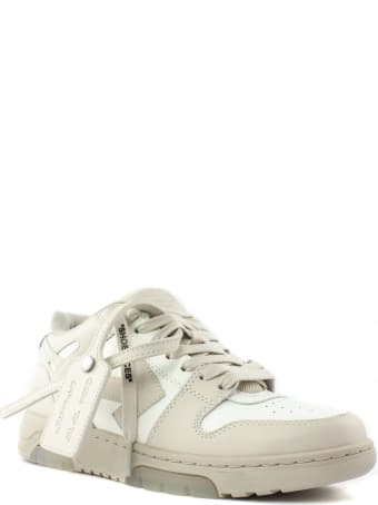 """Off-White White And Beige Leather """"ooo"""" Sneakers"""
