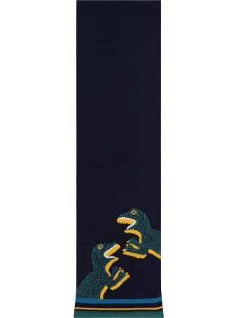 Paul Smith Junior Blue Scarf For Boy With Dinos