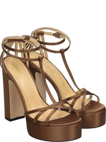 Giannico Evelyn Sandals In Brown Satin