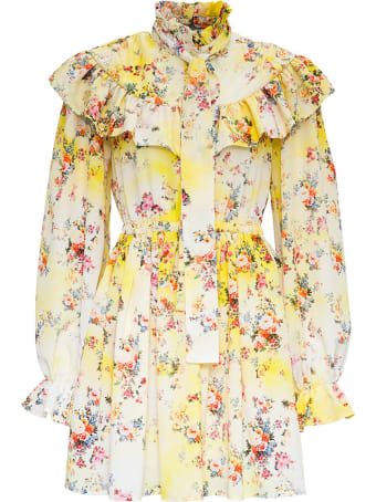 MSGM Floral Dress With Ruffles Detail