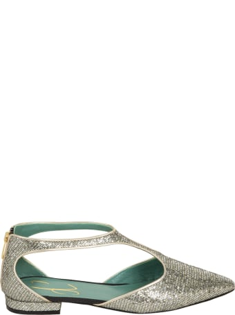Paola D'Arcano Pointed Toe Metallic Back-zip Sandals