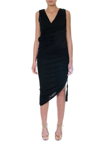 Lanvin Black Asymmetric Dress In Mixed Cotton