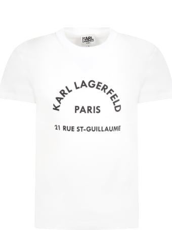 Karl Lagerfeld White T-shirt For Kids With Logo