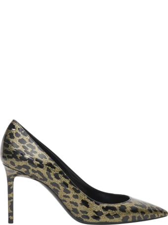 Saint Laurent Anja Pumps In Suede With A Leopard Print