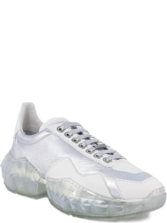 Jimmy Choo Silver Metallic Leather Sneakers