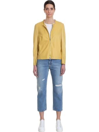 Salvatore Santoro Leather Jacket In Yellow Leather