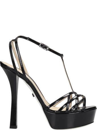 Grey Mer Sandals In Black Patent Leather
