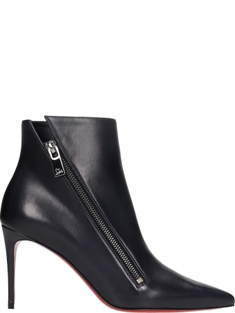 Christian Louboutin Brigikate 85 High Heels Ankle Boots In Black Leather
