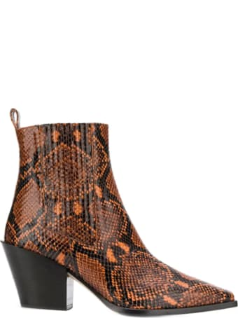 aeyde Kate Snake-effect Leather Ankle Boots
