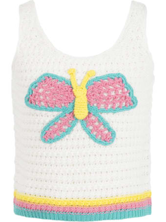 Stella McCartney White Tank Top For Girl With Butterflay