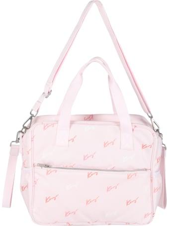 Kenzo Kids Pink Changing Bag For Babygirl With Logos