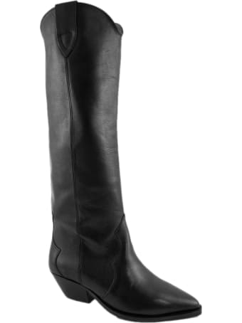 Isabel Marant Black Leather Denvee High Boots
