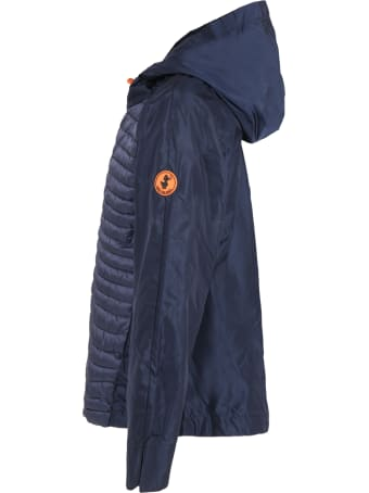 Save the Duck Blue Windbreaker For Girl With Iconic Patch