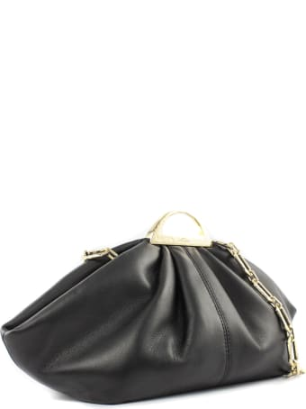 the VOLON Black Leather Mini Gabi Clutch Bag